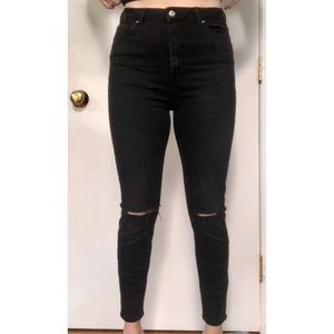Black High Waisted Distressed Skinny Jean